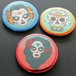 Set if 3 Sugar Skull Pinback Buttons
